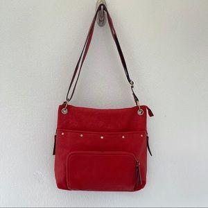 Bueno leather crossbody bag red studded handbag